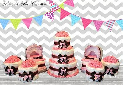 Pink and Brown Glittered Print Diaper Cake / Bassinet / Mini Cakes Party Set