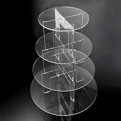 4-Tier Round Acrylic Plastic Clear Party Wedding Tiered Cupcake Cake Plate Stand