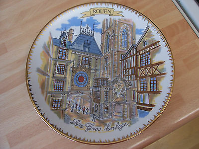 Souvenir plate by Limoges of Rouen France  about 24 cms. across.