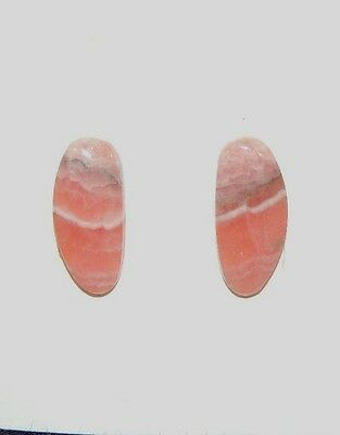 Pink Rhodochrosite Cabochons 7x15mm with 3mm dome set of 2 (7616)