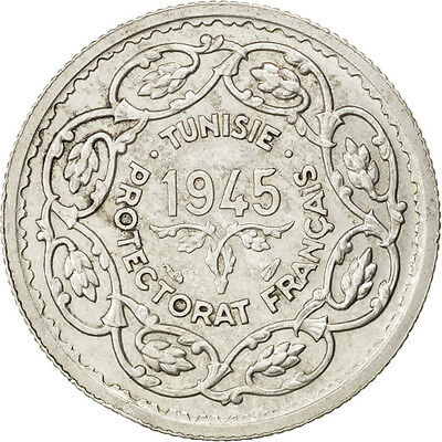 [#83958] TUNISIA, 10 Francs, 1945, Paris, KM #1, AU(50-53), Silver, Lecompte