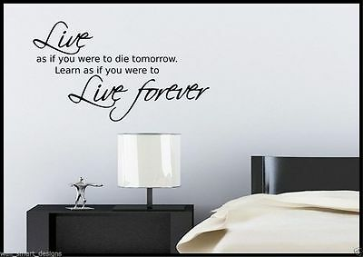 Live Forever Quote Wall Sticker Bedroom Room Decal Mural Transfer Art Stencil