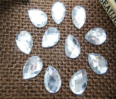 NEW 100PCS 12MM crystal Faceted Flatback Scrapbooking for crafts Drip Buttons U