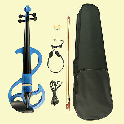 Silent Electric Practice Blue S 4/4 Violin Electric Violin + FREE CASE Whole KIT