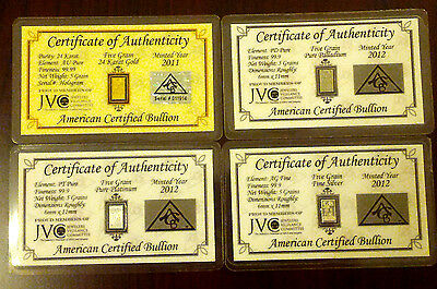 ACB Gold Silver Platinum Palladium 5GRAIN Bars with Certificate Authenticity $