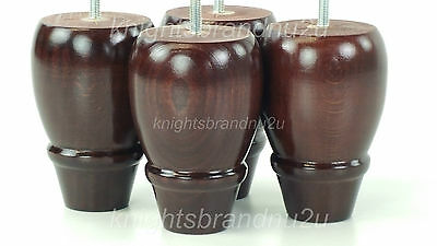 4x WOODEN TURNED FEET FURNITURE LEGS FOR SOFAS CHAIRS STOOLS CABINETS & BEDS M8