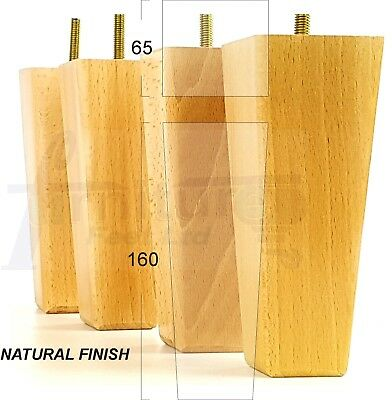 4x WOODEN FEET FURNITURE LEGS FOR SOFAS CHAIRS STOOLS CABINETS & BEDS M10