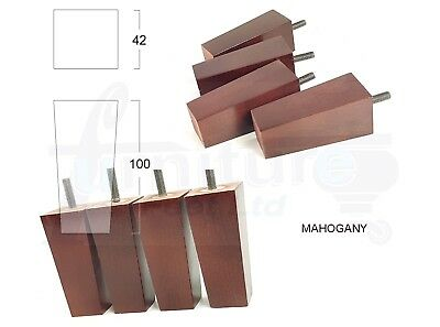 4x WOODEN SQUARE FEET FURNITURE LEGS FOR SOFAS CHAIRS STOOLS CABINETS & BEDS M8