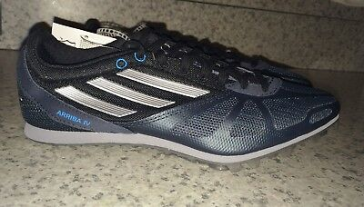 official photos 482b3 b0604 ADIDAS Arriba 4 IV Navy Blue Silver Distance Track Spikes NEW Mens Sz 6 7.5  8.5