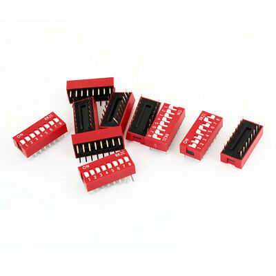 10 Pcs Electronic Component 8 Ways Double Rows Slide Type DIP Switch Red