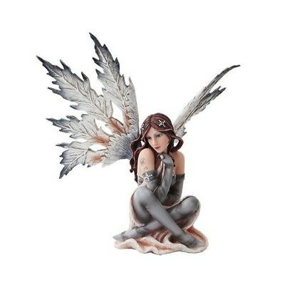 "Fantasy Beautiful Large Dark Fairy Winter Frost Figurine Statue 12"" Tall"