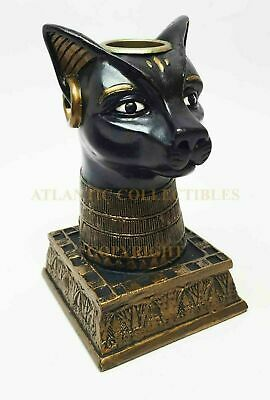 Ancient Egyptian Feline Cat Head Goddess Bastet Candle Holder Home Decor