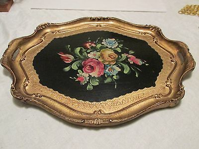 Vintage Florentine Gilt & Painted Wood Tray Lrg Floral Bouquet Italy Tab Handles
