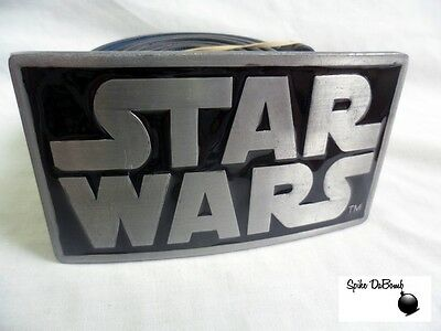 Awesome 'star Wars' Rectangle Black And Grey Logo Buckle With Belt *brand New*