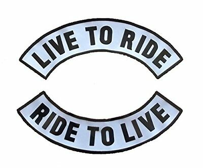 Live To Ride Ride To Live Top Bottom Rocker Skull Face 3PC Back Patch