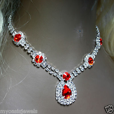 Rhinestone Austrian Crystal Choker Necklace Earring Set Red Pageant Bridal Prom