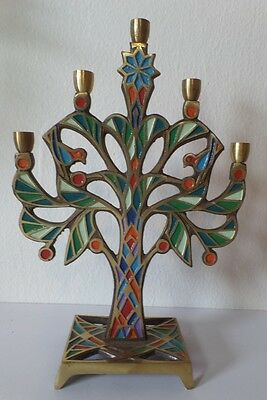 Vintage Terra Sancta Enameled Brass Israel Tree Candle Stick Holder Candelabra