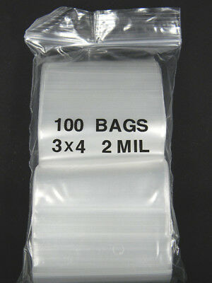 "Lot of 100 Ziplock SEALABLE - 3"" x 4"" - Small Plastic BAGS"