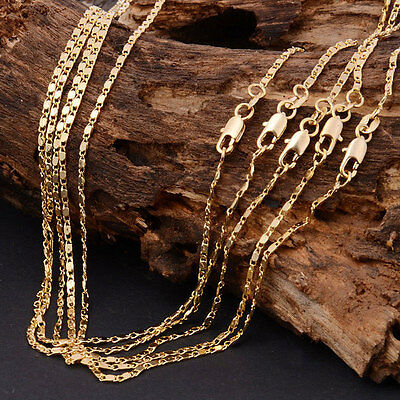 Elegant Women Personality Simple 18K Yellow Gold Filled Necklace Jewelry Chain