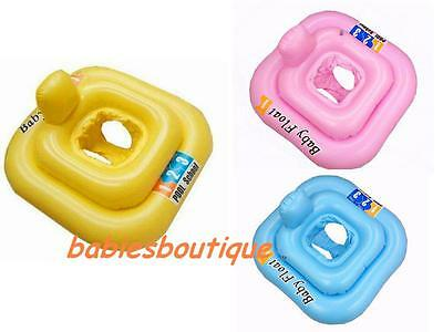 Inflatable Baby Swimming Seat Swim Float Ring Aid 0-1Y SQUARE SHAPE 3 COLOURS