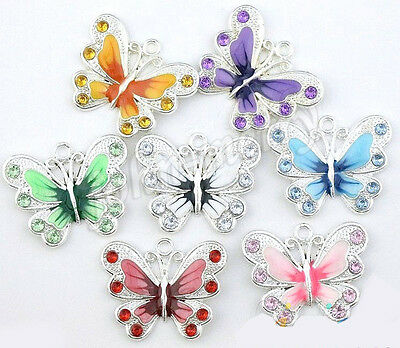 New Silver Plated Enamel Crystal Rhinestone Butterfly Charms Pendant 5/20Pcs