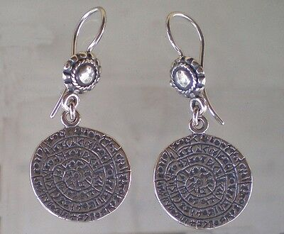 Phaistos Disc Coin Earrings - High Quality Silver Item – Ancient Greece