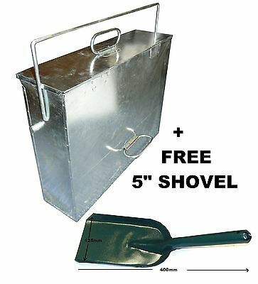 Large Galv Metal Hot Ash Tidy Box Carrier Bucket Fireplace Pan Bin c/w Shovel