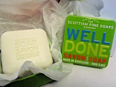 Scottish Fine Soaps Company in WELL DONE Soap 100G in Green Tin Case