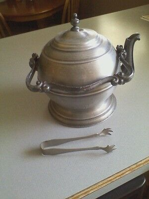Vintage Kettle Ice Bucket with Chicken Forked Tongs, made in Italy