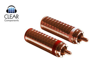 2x CINCH STECKER - KUPFER - RED COPPER-VERGOLDET-RCA PLUGS - SCHRAUBBAR-HIGHEND