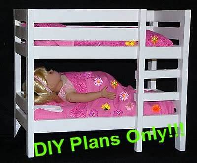 "Build a Doll Bunk Bed designed for 18"" Dolls (American Girl, Maplelea) DIY Plan"