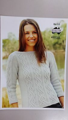 Heirloom Knitting Pattern #403 Ladies Cable Jumper to Knit in 8 Ply