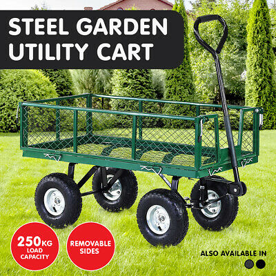 Heavy Duty Folding Garden Trolley Rust Free Cart Hand Utility Lawn Yard Farm