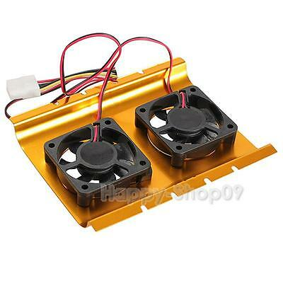 "Dual 3.5"" Hard Drive Disk HDD Cooling Fan Desktop Cooler Radiator for Desktop PC"