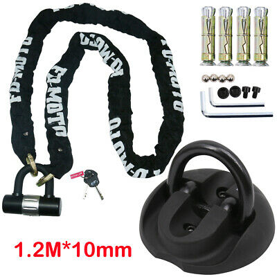 Chain Lock 1.2M/10MM Heavy Duty Motorbike Pad Lock + Oxford Wall Ground Anchor