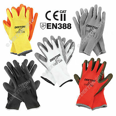 12 Pairs Work Gloves Safety Latex PU Nitrile  Black White Orange Grey Red