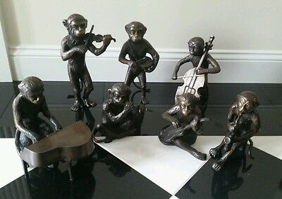 Huge GATCO solid brass monkey orchestra band 7 piece set lot htf rare