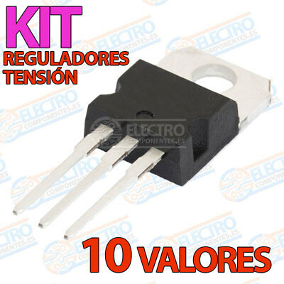 LOTE 10 REGULADOR TENSION 7805 06 08 09 10 12 15 18 24 lm317 1,5 kit voltaje
