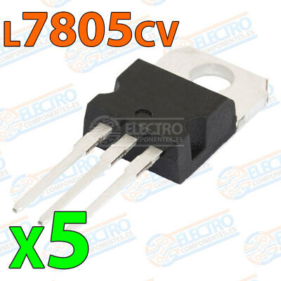 5x Regulador tension L7805CV L7805 7805 5V 1,5A - VOLTAGE REGULATOR TO-220