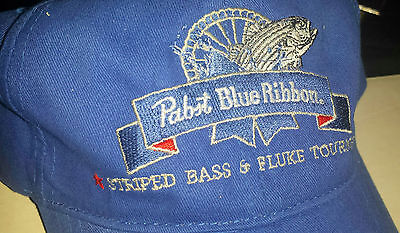 Pabst Blue Ribbon PBR beer cap hat Fishing Striped Bass Rare Only 1 on ebay