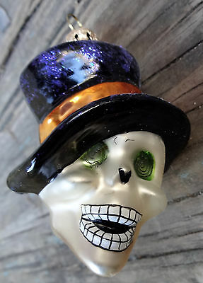 Christopher Radko Day of the Dead Skeleton Head with Hat Halloween Ornament