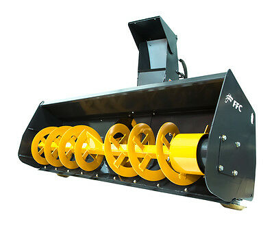 "FFC 72"" Skid Steer Snow Blower Attachment High Flow Dual Motor 30-42 GPM"