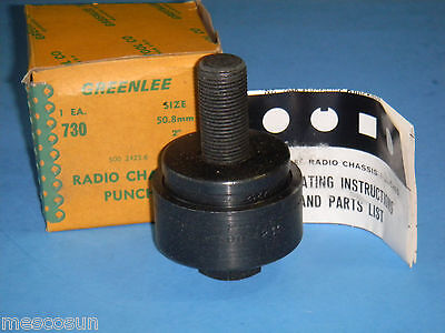 "GREENLEE Model 730 2"" Round Radio Chassis Knockout Punch # 500 2425.6 -3 Pc NOS"