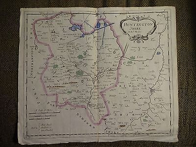 RARE Robert Morden Antique Copper Engraved Map of HUNTINGTONSHIRE