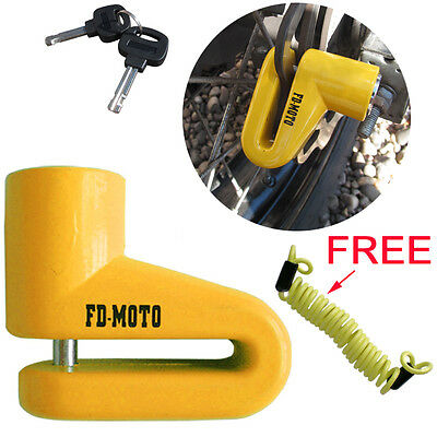 FD-MOTO Scooter Bike Motorcycle Motorbike Disc Lock + Free Reminder Cable 150cm