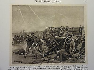 "Great B/W Print - ""SIEGE AND BARBETTE GUNS ... 1865"", Published in 1890 by G.B."