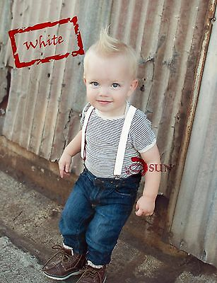 Kids Boys Girls White Solid COLORS Elastic Suspenders Braces 1 to 8 years old