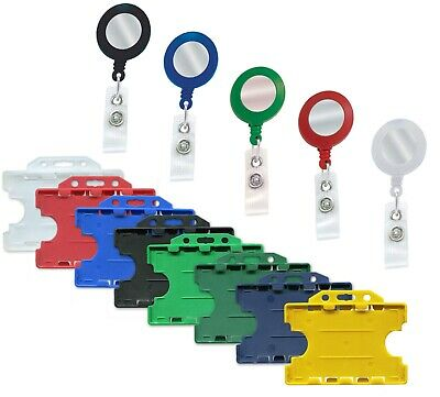 ID Retractable Badge Holder Reel & Double Sided Id Card Badge Holder Free P&P