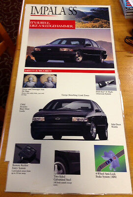 1996 SS Impala Original Showroom Information laminated Posters in MINT CONDITION
