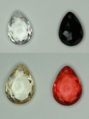 4 different Col #8 Acrylic Transparent Faceted  Teardrop Beads 18x13mm